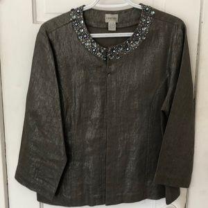 Chicos silver linen embellished blazer